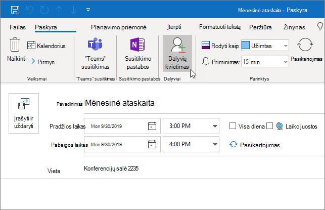"""Paskyros planavimas programoje """"Outlook"""""""