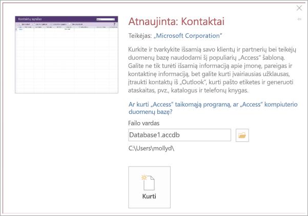 Ekrano iš kontaktų sąrašo sąsajos
