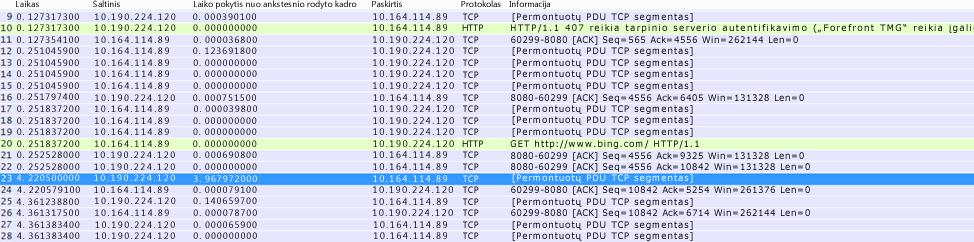 """Programoje """"Wireshark"""" stulpelį """"Laiko pokytis iš anksčiau rodyto kadro"""" galima sukurti kadrų informacijoje dešiniuoju pelės mygtuku spustelėjus to paties pavadinimo lauką ir pasirinkus Įtraukti kaip stulpelį."""