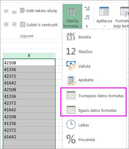 datų stulpelis teksto formatu