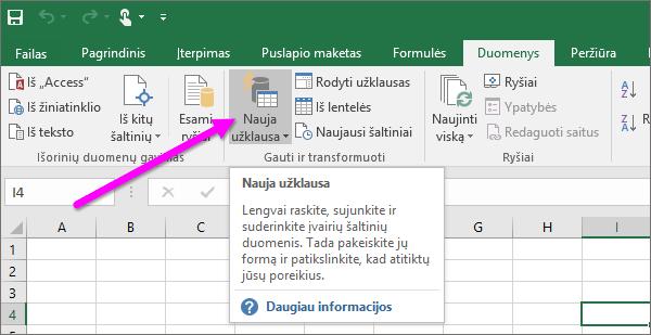 """Nauja užklausa programoje """"Excel 2016"""""""