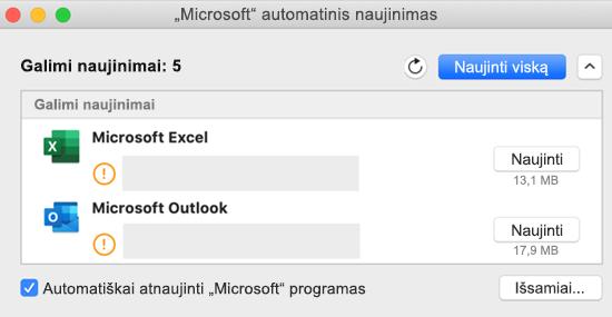 """""""Microsoft AutoUpdate"""" ataskaitų srities vaizdas su informacija apie naujinimus."""