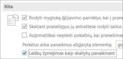 """""""Outlook"""" parinkčių dialogo lange žymės langelis Pažymėti panaikintus pranešimus kaip perskaitytus"""
