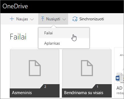 """Ekrano nuotrauka, rodanti, kaip bendrinti naudojant """"OneDrive"""" verslui"""