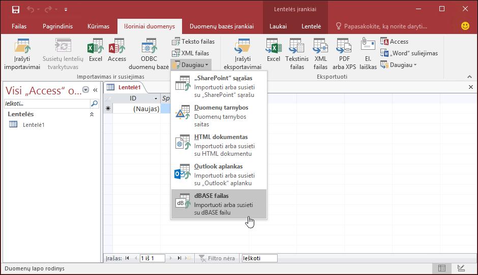 Ekrano prieigos valdymas naudojant dBASE pasirinkta ne numeryje esančiu duomenų juostelės skirtuko failas parinktis