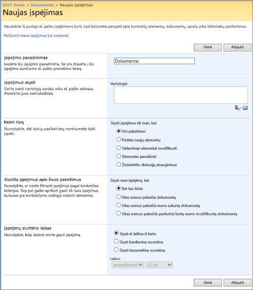 SharePoint 2007 įspėjimo puslapį