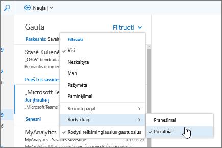 Gautų laiškų aplanko ekrano kopija, kurioje rodoma parinktis Filtras > Rodyti kaip > Pokalbiai.
