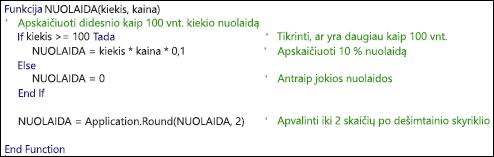 VBA funkcijos su komentarais pavyzdys