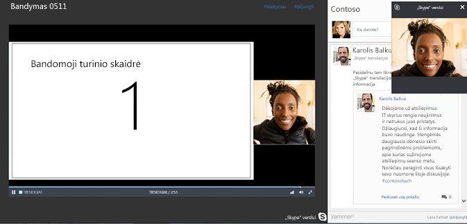 """Skype"" susitikimo transliacija su ""Yammer"" integracija"