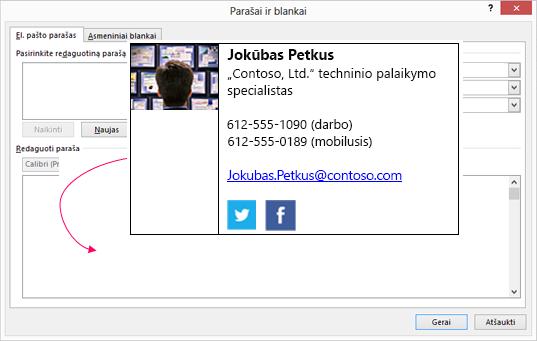 Įklijuokite pasirinktinį parašo bloko el. pašto parašo teksto lauką, kad parašai ir blankai dialogo langas