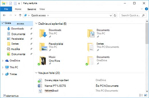 Sparčioji prieiga failų naršyklėje