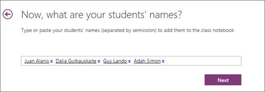 """Įtraukite studentų vardus klasės bloknoto """"OneNote""""."""