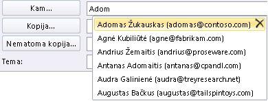 Automatinio užbaigimo sąrašas
