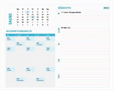 """Studentams skirtas savaitės planavimo kalendoriaus šablonas (""""Excel"""")"""
