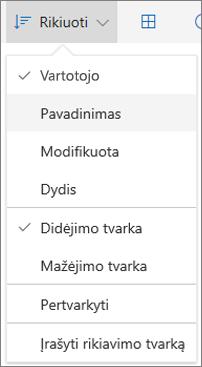"""""""OneDrive"""" rikiavimo meniu ekrano kopija"""