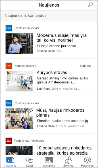 Surinktos komandos naujienų ekrano nuotrauka