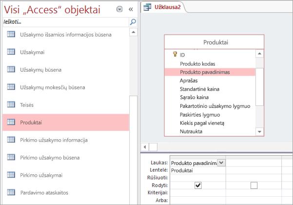 """Visų """"Access"""" objektų rodinio ekrano kopija"""