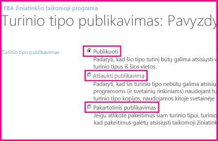 Koncentratoriaus svetainės puslapyje Turinio tipų publikavimas galite publikuoti, iš naujo publikuoti, ar anuliuoti turinio tipo publikavimą.