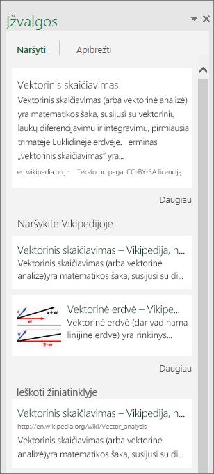 "Įžvalgų sritis ""Excel 2016 for Windows"""