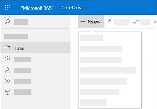 """Ekrano kopija, kai pasirinkti meniu Naujas kuriant naują dokumentą """"OneDrive"""" verslui"""