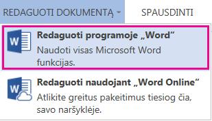 """""""Word Online"""" ekrano kopija su pasirinkta Redaguoti programoje """"Word"""""""