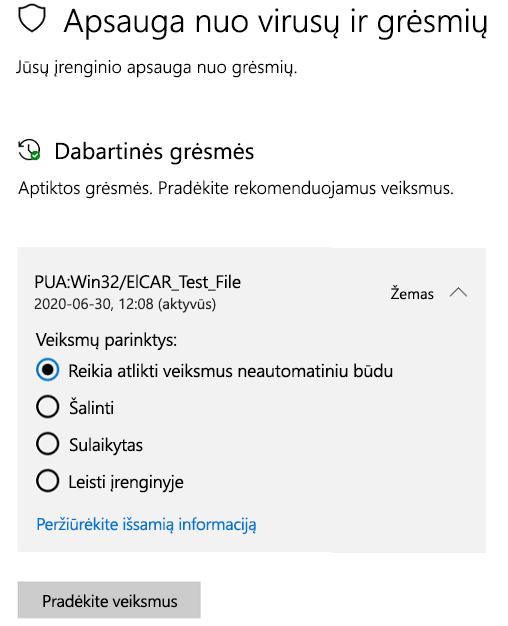 """Veiksmai, kuriuos galite atlikti, kai """"Windows"""" sauga aptiko galimai nepageidaujamą programą"""