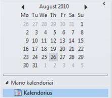 Datų naršyklė kalendoriaus naršymo srityje