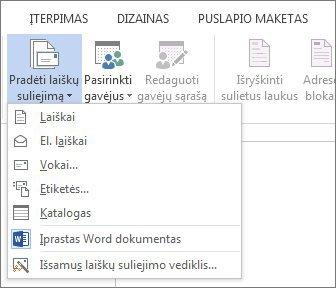 """""""Word"""" programos skirtuko Paštas ekrano nuotrauka, kurioje matyti komanda Laiškų suliejimo pradžia ir galimų parinkčių sąrašas pagal norimo atlikti suliejimo tipą."""