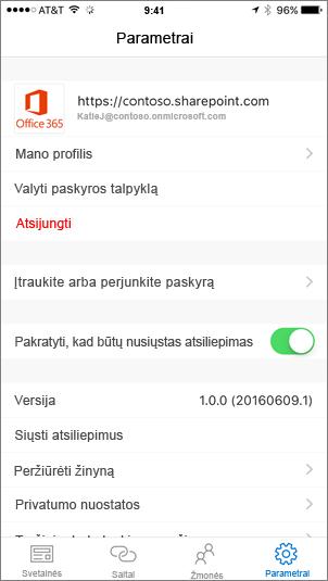 Dalinis ekrano nuotrauka, rodanti skirtuką SharePoint taikomosios programos parametrai