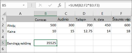Masyvo formulės, kuri apskaičiuoja vieną rezultatą, pavyzdys