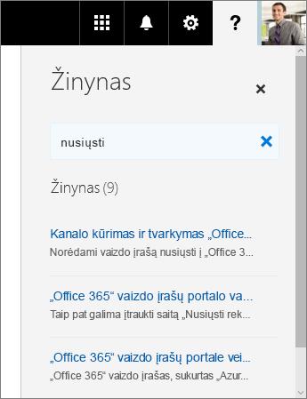 """Ekrano nuotrauka, vaizduojanti """"Office 365"""" vaizdo įrašų portalo žinyno sritį su paieškos rezultatais įvedus """"Nusiųsti""""."""