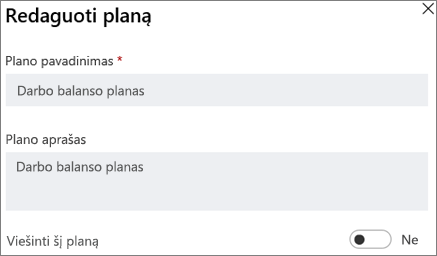 Ekrano nuotrauka dialogo langas Redaguoti planas rodo įsitikinkite, kad šis planas viešosios valdiklis.