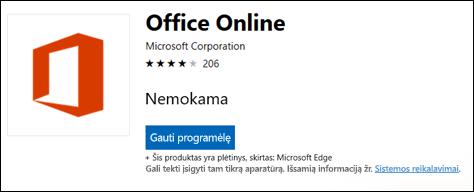 """""""Office Online plėtinio puslapį"""" Microsoft Store"""