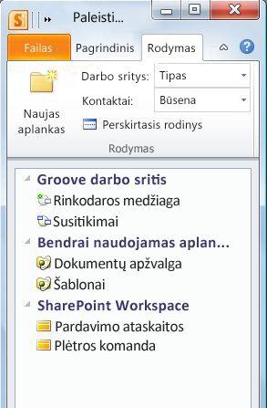 Darbo sritys, suskirstytos kategorijomis pagal tipą