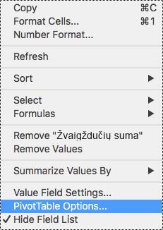 """""""PivotTable"""" parinktys programos """"Excel"""", skirtos """"Mac"""" kontekstiniame meniu."""