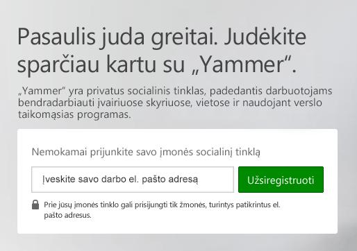 """""""Yammer"""" prisijungimo ekranas"""
