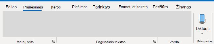 """Outlook"" diktavimo ekrano nuotrauka."