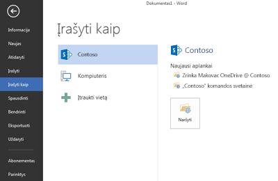 """Įrašymo ekranas, kuriame rodoma """"OneDrive"""" verslui ir """"SharePoint"""" svetainė, įtraukta kaip Vieta"""