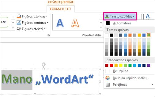 Teksto užpildo spalvų galerija skirtuke Piešimo įrankių formatas