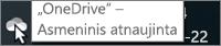 """Ekrano kopijoje rodomas žymiklis virš baltos """"OneDrive"""" piktogramos su tekstu """"OneDrive – asmeninis""""."""