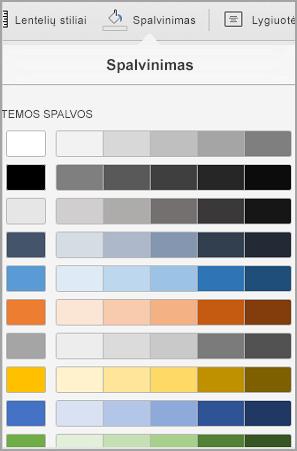 """""""iPad"""" lentelės spalvinimo parinktys"""