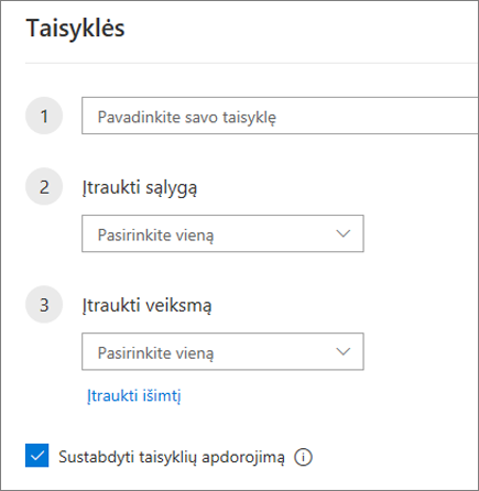 """Naujos taisyklės kūrimas internetinėje """"Outlook"""""""