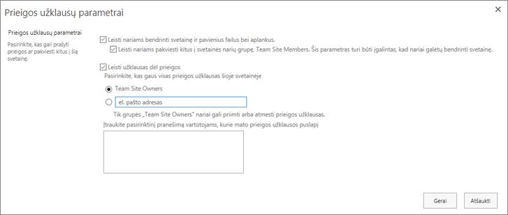 Ekrano užklausų dialogo lango ekrano kopija