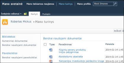 SharePoint 2010 Mano svetainė