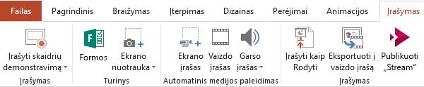 """Programos """"PowerPoint 2016"""" juostelėje rodomas skirtukas Įrašymas"""