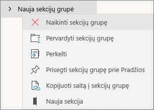 """Sekcijų grupės naikinimas programoje """"OneNote"""", skirtoje """"Windows 10"""""""