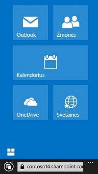 """""""Office 365"""" naršymo plytelių naudojimas pereiti į svetaines, bibliotekas ir el. paštą"""