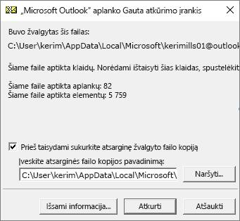 """Rodomi rezultatai nuskaitytų """"Outlook"""".pst duomenų failo naudojant """"Microsoft"""" Inbox Repair įrankį, SCANPST. EXE"""