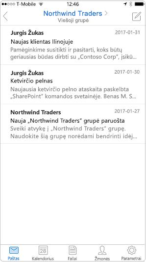 """Pokalbio rodinys programoje """"Outlook"""" mobiliųjų įrenginių programėlės"""