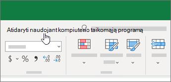 """Atidarykite kompiuterio taikomąją programą """"Excel"""" darbaknygės viršuje"""